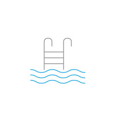 pool with ladder solid icon swimming vector image