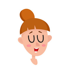 Pretty dark brown hair woman laughing facial vector
