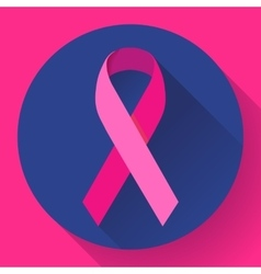 Realistic pink ribbon breast cancer awareness vector