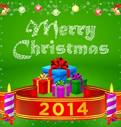 ribbon 2014 and Merry Christmas gifts vector image