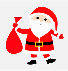 Santa claus carrying sack gift bag red hat vector