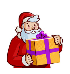 santa claus with big gift in hands christmas vector image vector image
