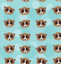 Seamless pattern lemur muzzle on blue background vector
