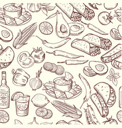 seamless pattern with traditional mexican food vector image