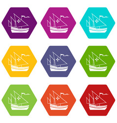 ship of columbus icon set color hexahedron vector image vector image