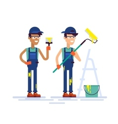 Two house painters holding brush and roller Flat vector image vector image