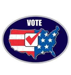 Vote tick map of america flag vector