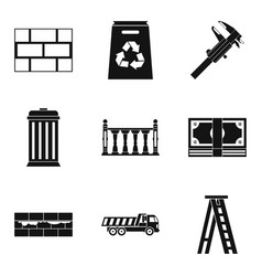 wall mounting icons set simple style vector image
