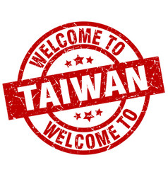 Welcome to taiwan red stamp vector