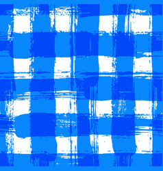 White blue gingham pattern grunge brush strokes vector