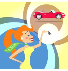 Woman with car keys vector