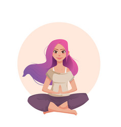Young woman with pink hair meditates in lotus vector