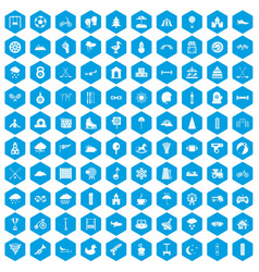 100 kids games icons set blue vector