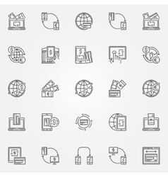 Money transfer icon set vector