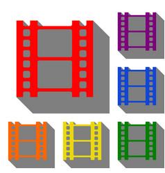 reel of film sign set of red orange yellow vector image
