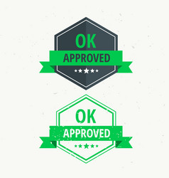 Approved rubber stamp label badge design in green vector