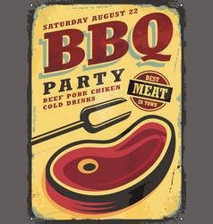 Bbq party vintage metal sign vector