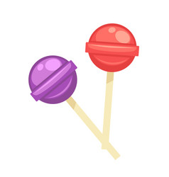 Sweet tasty round lollipops on wooden sticks vector