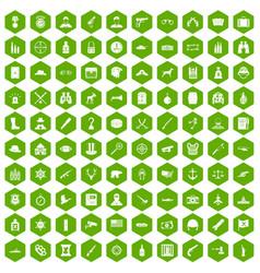 100 bullet icons hexagon green vector