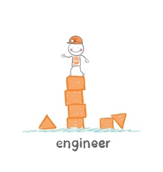 engineer builds the tower of childrens blocks vector image