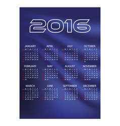 2016 simple business blue waves wall calendar vector
