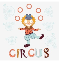 Stylish card with clown vector image