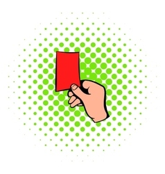 Raised red card icon comics style vector image