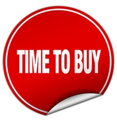 Time to buy round red sticker isolated on white vector