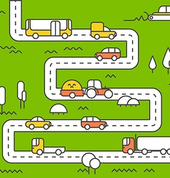 Different vehicle on a road city life minimalism c vector
