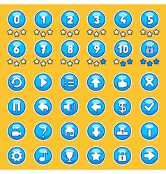 Aqua game buttons set vector