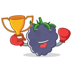 Boxing winner blackberry character cartoon style vector