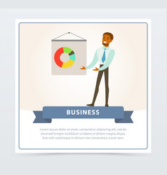 businessman making presentation and explaining vector image vector image