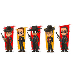 Cartoon criminal mafiosi with gun character set vector