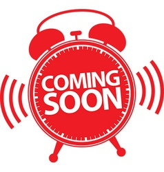 Coming soon alarm clock red icon vector