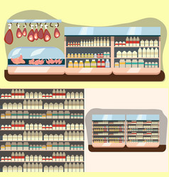 dairy department milk shelf with fresh healthy vector image vector image