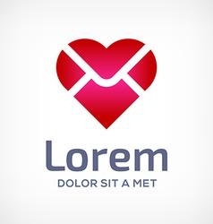 E-mail envelope heart logo icon vector