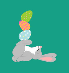 easter rabbit with eggs vector image vector image