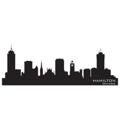 Hamilton Canada skyline Detailed silhouette vector image vector image