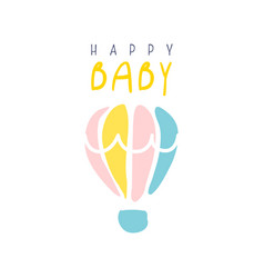 happy baby logo colorful hand drawn vector image