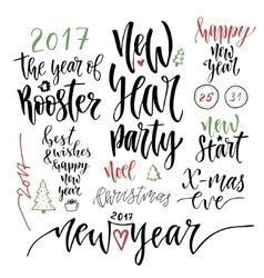 Happy new year calligraphic set vector