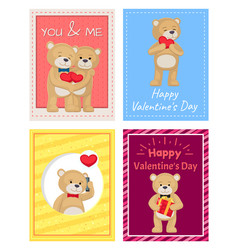 happy valentines day postcards with teddy bears vector image