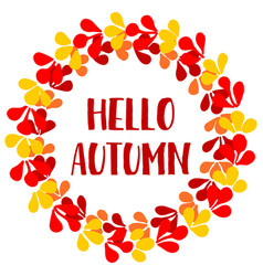 Hello autumn wreath card vector