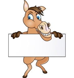 horse with blank sign vector image vector image