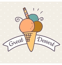 Ice cream doodle icon vector image vector image