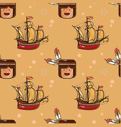 injun and sailing ship seamless pattern vector image