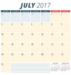 July 2017 Calendar Planner for 2017 Year Week vector image vector image
