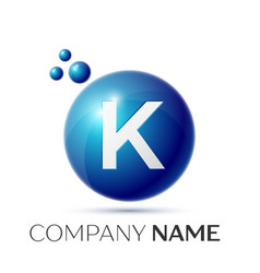 k letter splash logo blue dots and circle bubble vector image vector image