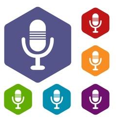 Microphone rhombus icons vector