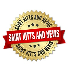 Saint kitts and nevis round golden badge with red vector
