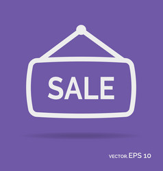 Sale banner outline icon white color vector